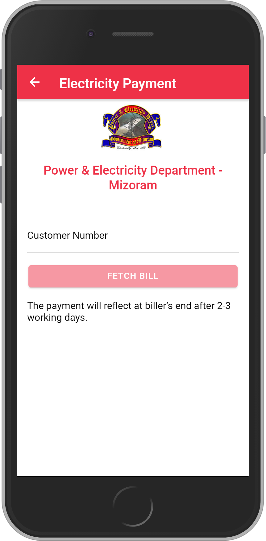 Get UNLIMITED <b>0.1%</b> CASHBACK on Power & Electricity Department – Mizoram Bill Payment.