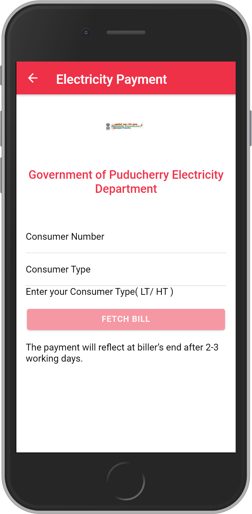 Get UNLIMITED <b>0.1%</b> CASHBACK on Government of Puducherry Electricity Department Bill Payment.